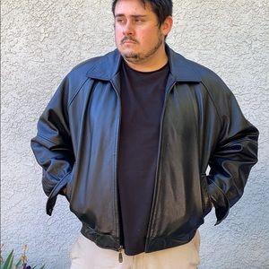 Perry Ellis Sleek Classic Black Essential Staple Basic Leather Jacket Coat